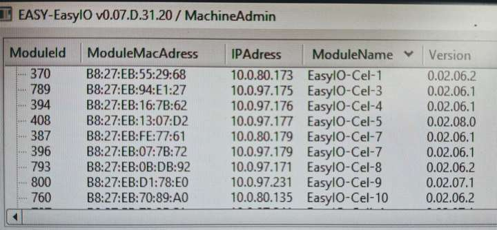 EasyIO input output and machine data listed on a screen