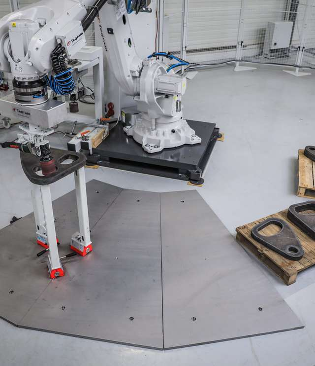 Grinding and deburring products with a robot